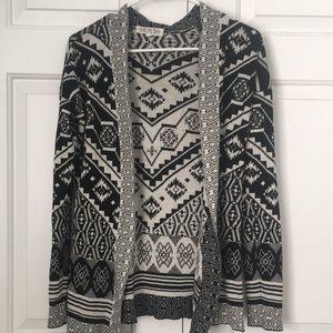 Aztec print cardigan sweater